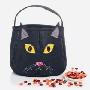 Felt Black Cat Halloween Trick or Treat Tote Bag